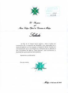 Medalla al Mérito Científico al Prof. Dr. Daniel Torres Lagares por el Ilustre Colegio Oficial de Dentistas de Málaga.