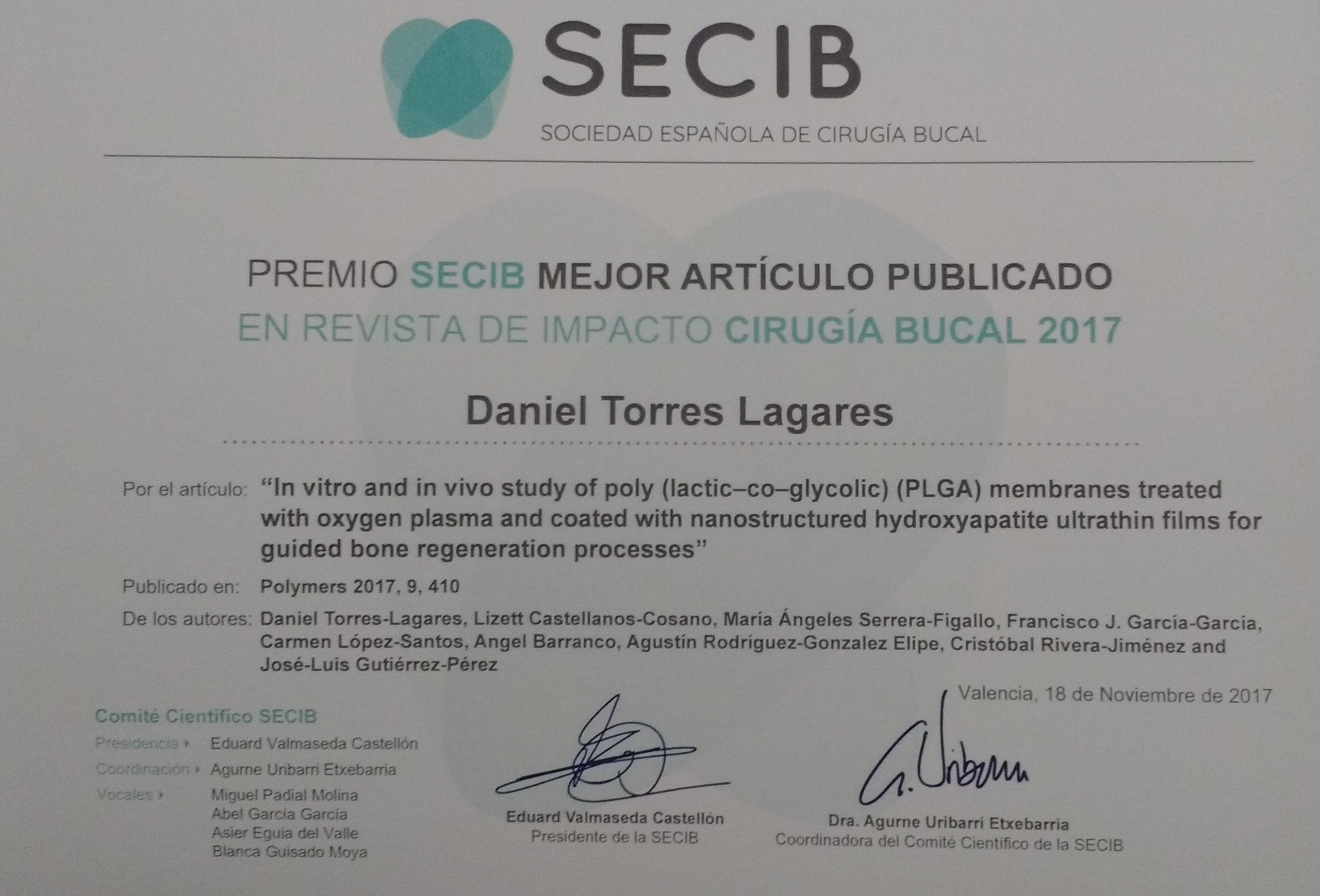 Premio al mejor artículo de investigación sobre cirugía bucal en revistas de impacto extranjeras 2017